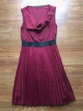 The Limited Womens Red Dress Size Small Sleeveless Cowl Neck Pleats Empire Waist