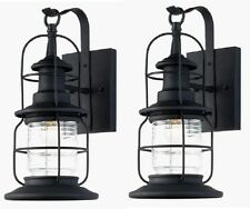 2 Pack Black Outdoor Wall Mount Jelly Jar Lantern Lights! Exterior Glass Lot