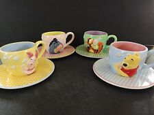 """DISNEY """"WINNIE THE POOH GINGHAM CUPS AND SAUCERS """" SET OF 4 - NEW IN BOX"""