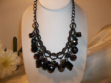 Carol Dauplaise Black Faceted Bead  and Fireball Shaky Necklace NWT $22