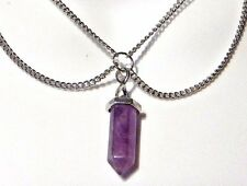 AMETHYST QUARTZ PENDANT silver double chain multi-strand necklace crystal Q5