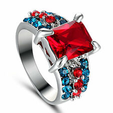 Size 8 3.5 Carat Princess Cut Ruby Wedding Engagement Ring Christmas Gift Wife