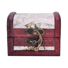 Vintage Stamp Mini Metal Lock Jewelry Treasure Chest Case Handmade Wooden Box QW