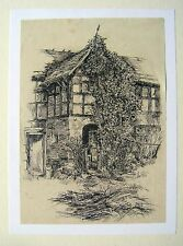 DRAWINGS OLD PORCH AT OUGHLINGTON hALL INK ENGLISH SCHOOL 1856