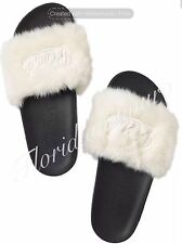 New Victorias Secret PINK Faux Fur Slide Flip Flap Sandal White Big M 7-8 NWT