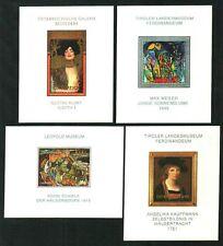 FAMOUS MUSEUM PAINTINGS 4 MINISHEETS: KLIMT,SCHIELE,ETC.MNH