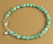 Turquoise nuggets bracelet. Star charm. Blue/green. Sterling silver 925.Handmade