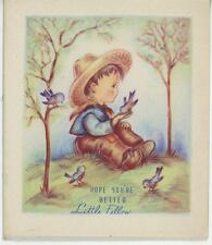 VINTAGE COUNTRY FARM BOY CHILD STRAW HAT PET BLUEBIRDS TOYS BAT TRUCK CARD PRINT