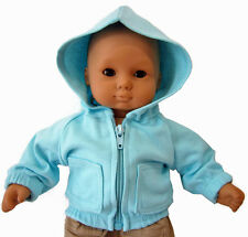 Aqua Blue Hoodie Jacket for Bitty Baby + Twins Doll Clothes DETAILED!