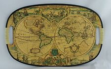 "Serving Tray Old School Cartography World Map 17 3/4"" X 11.5"" Vintage"