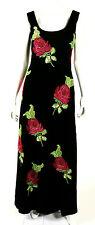 GIORGIO ARMANI Black Velvet & Sequin Roses Beaded Evening Gown 40