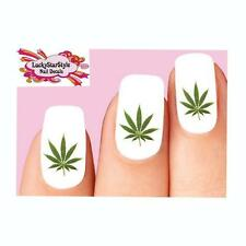 Waterslide Nail Decals Set of 20 -Cannabis Pot Marijuana Leaf Green