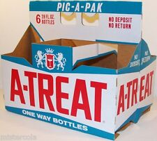 Vintage soda pop bottle carton A TREAT 28oz One Way Bottles unused new old stock