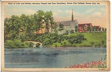 View of Lake and Bridge at College in Grove City PA Postcard