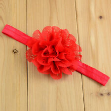 Red Soft Headbands Hair Wear Chiffon Floral Toddler Baby Girls Christening Party
