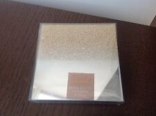 4 GLASS GLITTER GOLD SPARKLE MIRROR COASTERS CHRISTMAS DINING TABLE MIRRORED NEW
