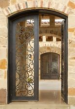 "72"" X 81""  12 Gauge Wrought Iron Entry Door Set by Monarch Custom Doors"