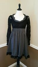 Modcloth Tea in the Parlor Ryu Dress M Sleeves Black & Gray Victorian Style Boho