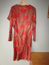 VINTAGE PIERRE CARDIN DRESS red rose ruffle 10 12 70's 80's designer floral