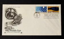 NRMT FDC 1982 WORLDS FAIR TWO 20 CENT STAMPS BREEDER REACTOR & FOSSIL FUELS