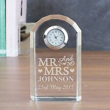 Personalised Mr and Mrs Clock Engraved Crystal Glass Wedding, Anniversary Gift
