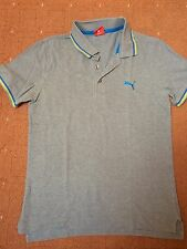 Mens Puma Grey Polo Collar T-Shirt Size Small Blue Yellow Stripes