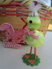 VINTAGE SATIN EASTER CHICK PEEP&FEATHER HAT & WINGS&WIRE LEGS&FLOCKED BASE DECOR