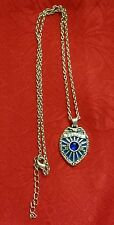 "18"" POLICE BADGE SILVER PLATED BLUE ENAMEL & BLUE FAUX CRYSTAL PENDANT NECKLACE"
