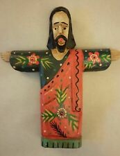 JESUS CHRIST COLOURFUL WOOD CARVING STATUE / ORNAMENT 20cm / 8 inch.