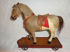 Antique Late 19th./Early 20th.c Horse Pull Toy, Natural Hide Covered