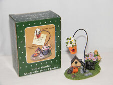 New In The Garden Magnetic Table Top Note Photo Holder - Bird House . Flower Pot