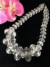 NIB EXCEPTIONAL JOAN RIVERS CHUNKY FACETED ROUND CRYSTAL LUCITE BEAD NECKLACE