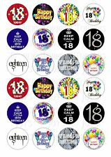 24 18th BIRTHDAY CUPCAKE TOPPER WAFER RICE EDIBLE FAIRY CAKE BUN TOPPERS