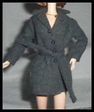 TOP MATTEL BARBIE DOLL X-FILES CHARCOAL GRAY HIP LENGTH TRENCH COAT JACKET