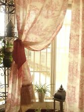 PAIR Jamestown Style French Toile Burlap curtain panels Ruffle RED Check tieback