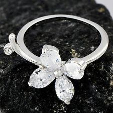 Nice Womens Round Love Ring Flower Clear Cubic Zirconia silver plated Size 9