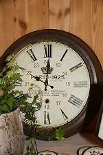 Wanduhr XXL Groß Landhaus Shabby Style Braun 24 Stunden