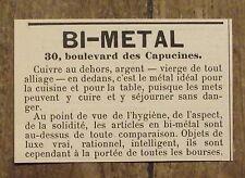 Publicité ancienne Bi Metal, cuivre et argent, cuisine,casserole,1898, advert