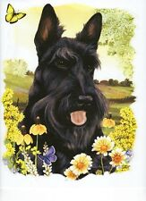 SCOTTIE  DOG Head with Flowers on ONE Fabric Panel to Quilt and Sew. SALE!