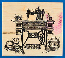 PSX K-1463 Antique Sewing Machine Rubber Stamp - with Cat, Knitting, Table