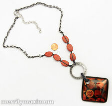 Chico's Signed Necklace Long Silver Chain Red Oval Wood & Dark Enamel Pendant