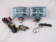 2 4X4 OFF ROAD WHITE UNIVERSAL DRIVING LAMPS FOG LIGHTS SET WIRING HARNESS