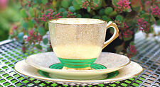 Tuscan China Teacup Saucer Trio Green Gold Art Deco English China Teaset Party