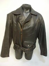 Classic 1980s Bike Flying  Distressed Vintage Brown Leather Jacket Large (LC43)