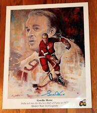 Vintage Gordie Howe Mr. Hockey Detroit Red Wings Signed Quaker State Art Print!