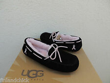 UGG DAKOTA BLACK/ PINK BREAST CANCER AWARENESS MOCCASIN SLIPPERS, US 5/ 36 ~NIB