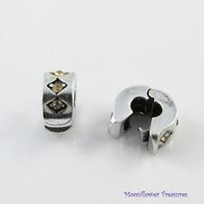 Golden Rhinestone Diamond Pattern Stopper Clip fit European Bracelets