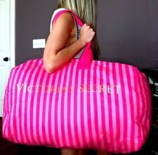 Victoria's Secret PINK striped canvas travel duffle bag weekender luggage euc L