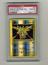 Pokemon PSA 10 GEM MINT Zapdos Evolutions XY English Rev Holo Base Card 42 POP 3