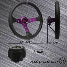 "FOR 1992-1996 HONDA PRELUDE PURPLE DEEP DISH 13"" PVC STEERING WHEEL+HUB ADAPTER"